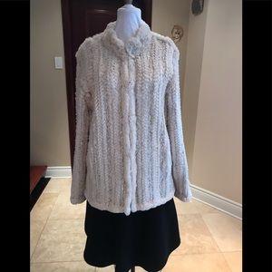 SPI 25 white knit & real rabbit fur jacket